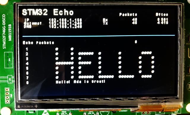Simple UDP Echo Server on STM32F746